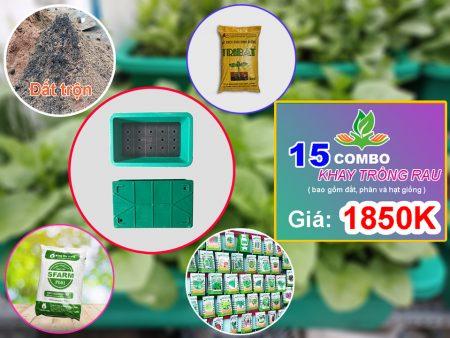 Combo 15 khay trồng rau gồm đất trộn, đất tribat, phân, hạt giống